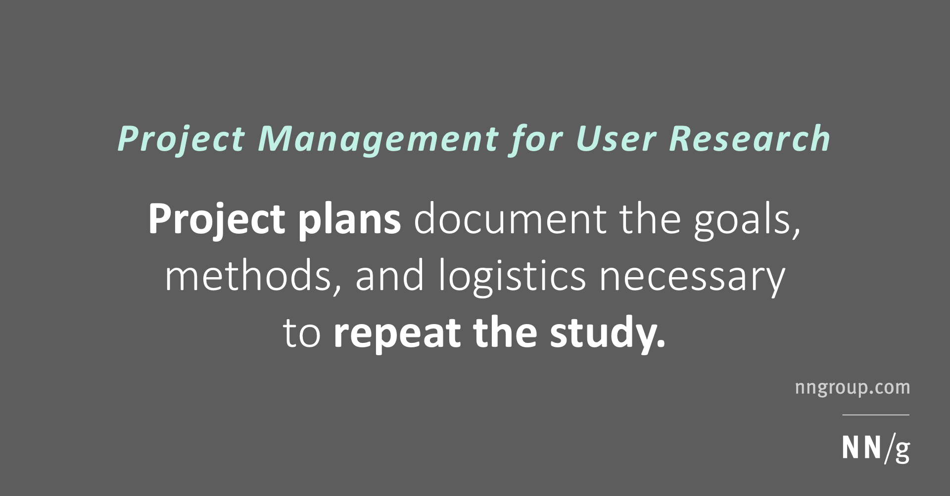 Project Management for User Research: The Plan