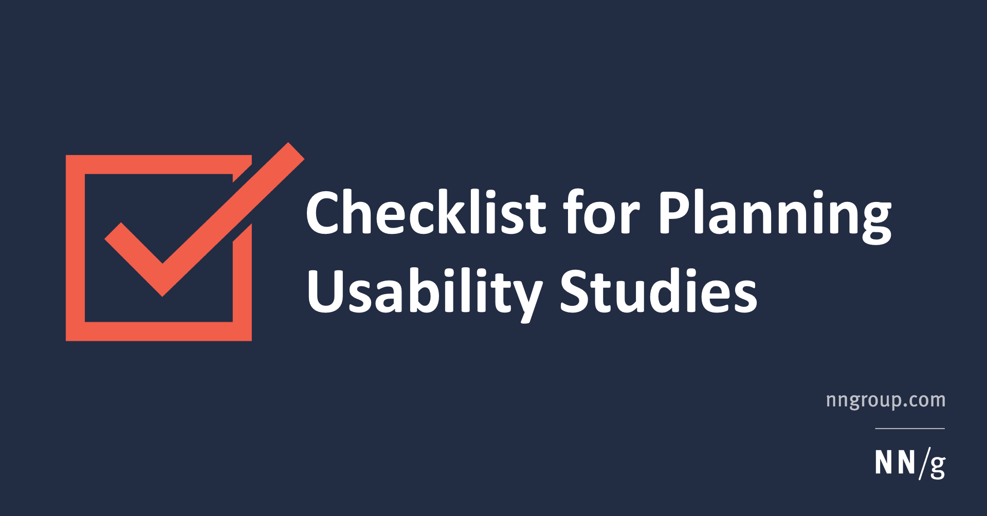 Checklist for Planning Usability Studies