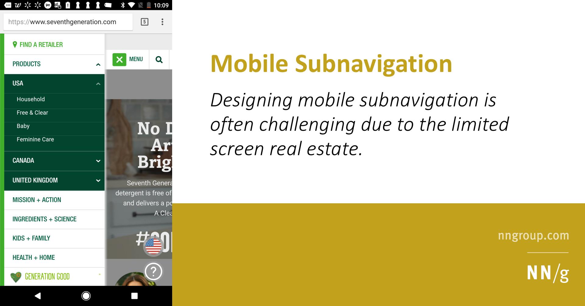 Mobile Subnavigation