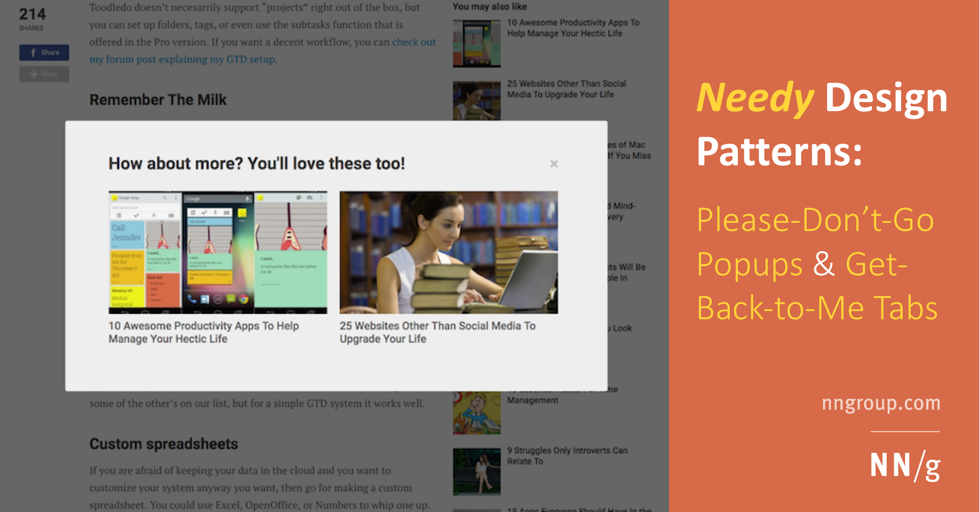 Needy Design Patterns: Please-Don't-Go Popups & Get-Back-to