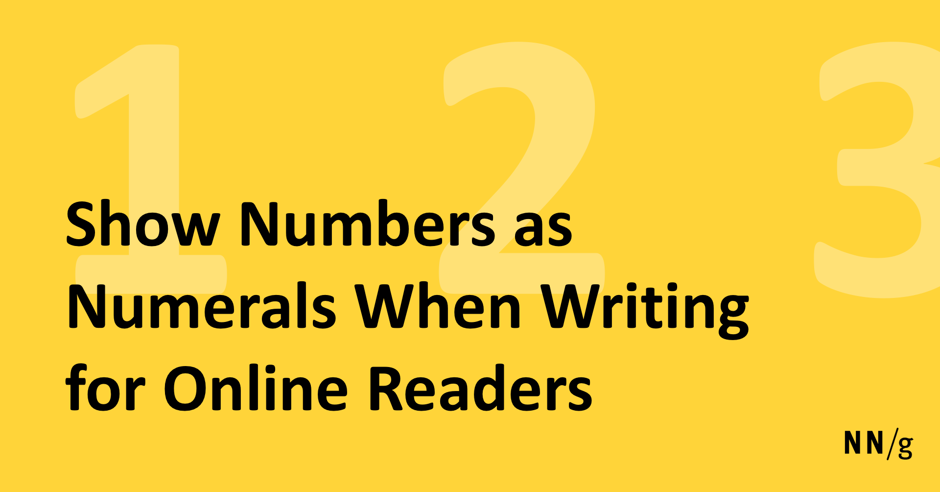 Show Numbers As Numerals When Writing For Online Readers