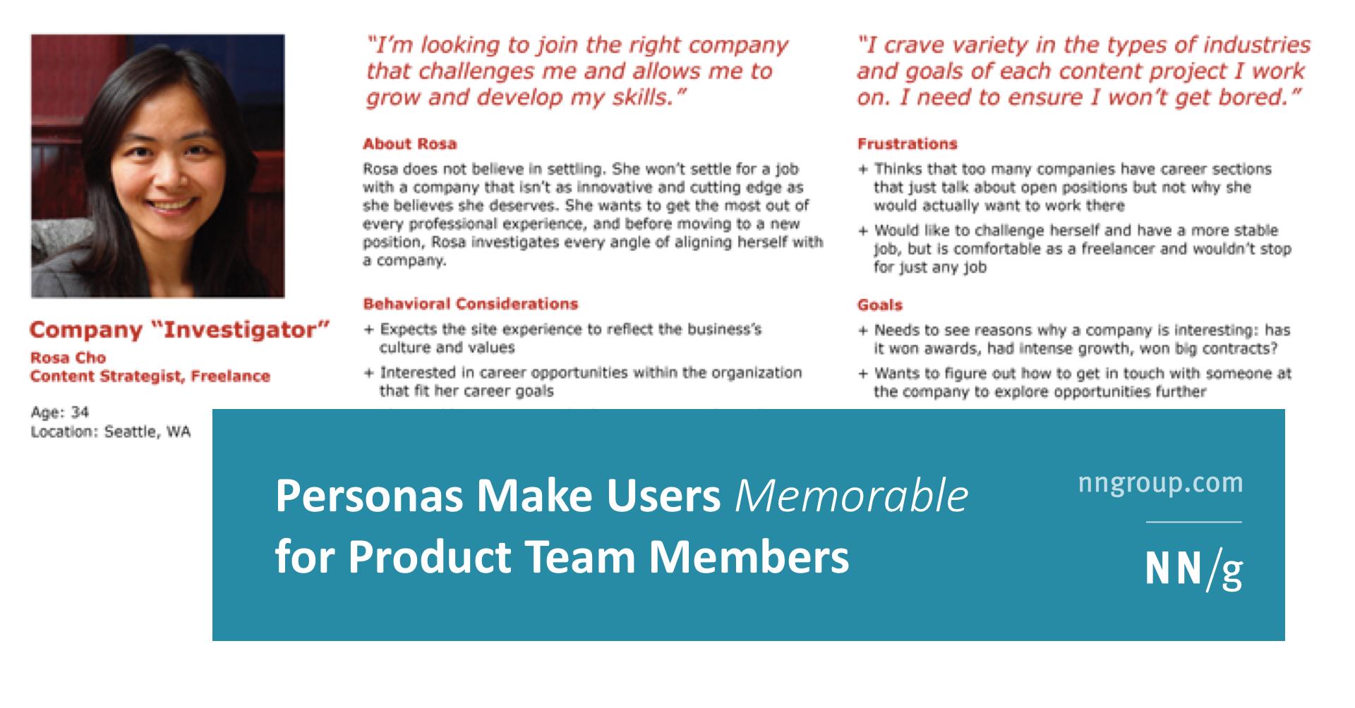 Personas Make Users Memorable For Product Team Members