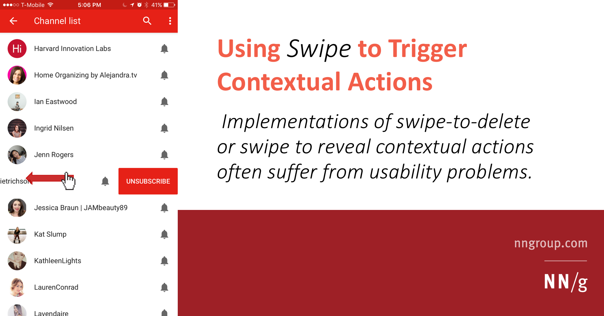 Using Swipe to Trigger Contextual Actions