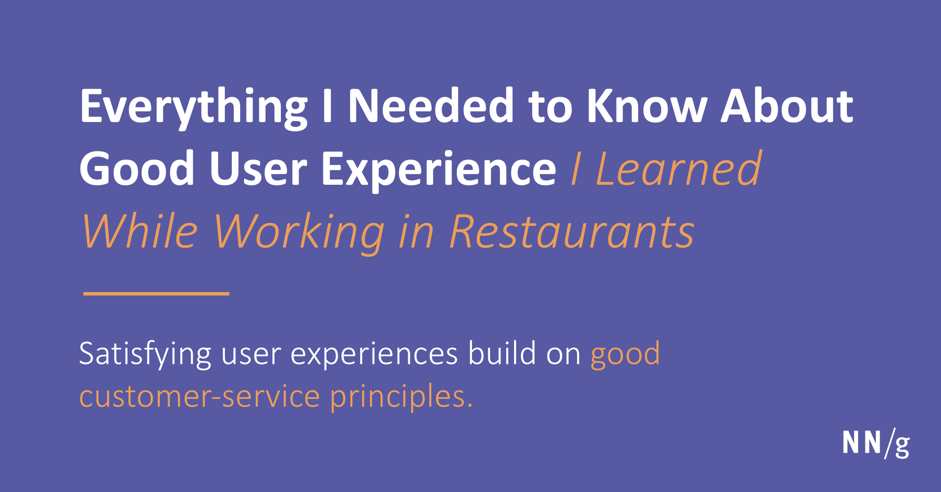 Good Ux What I Learned While Working In Restaurants