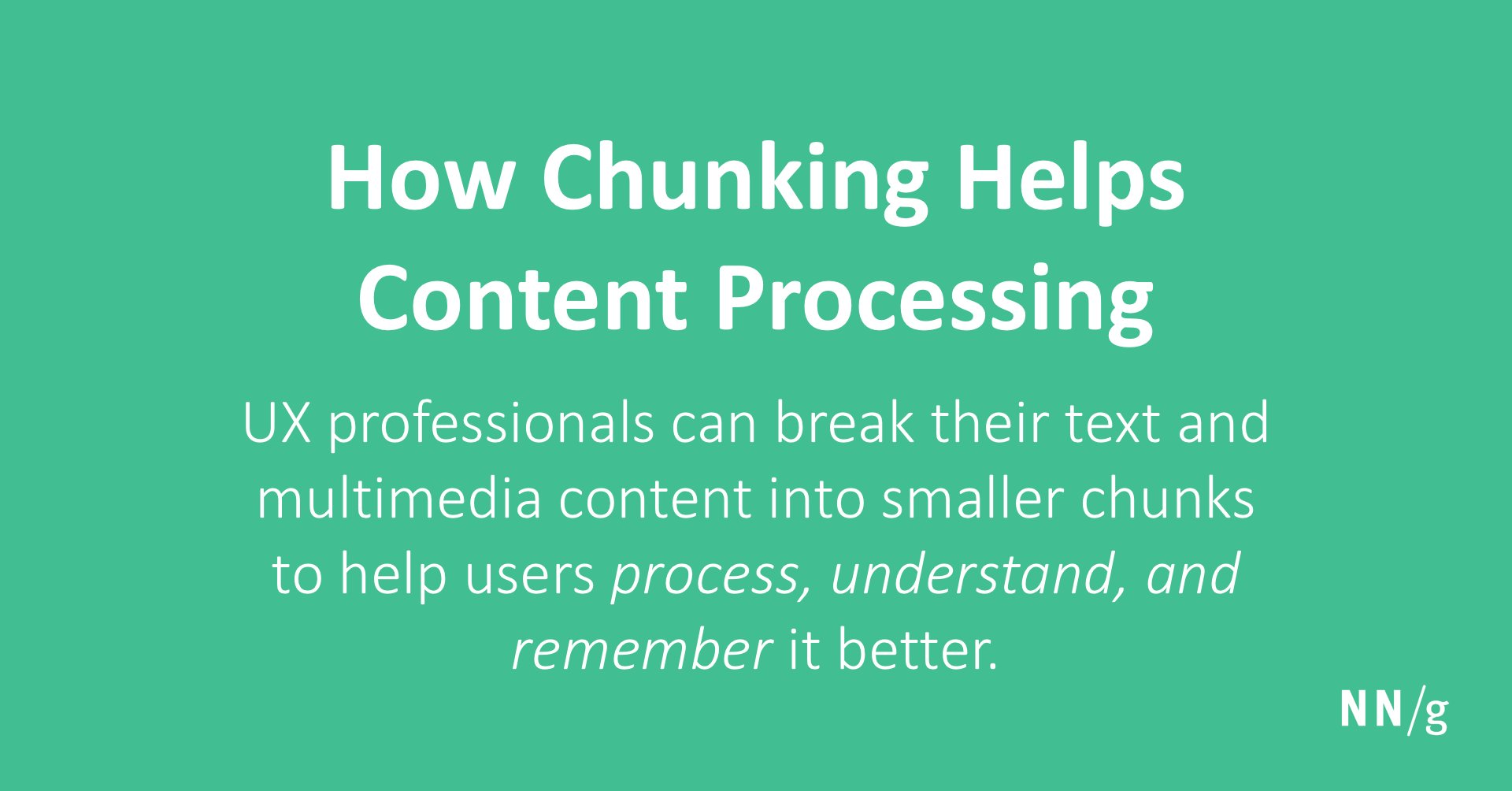 How Chunking Helps Content Processing