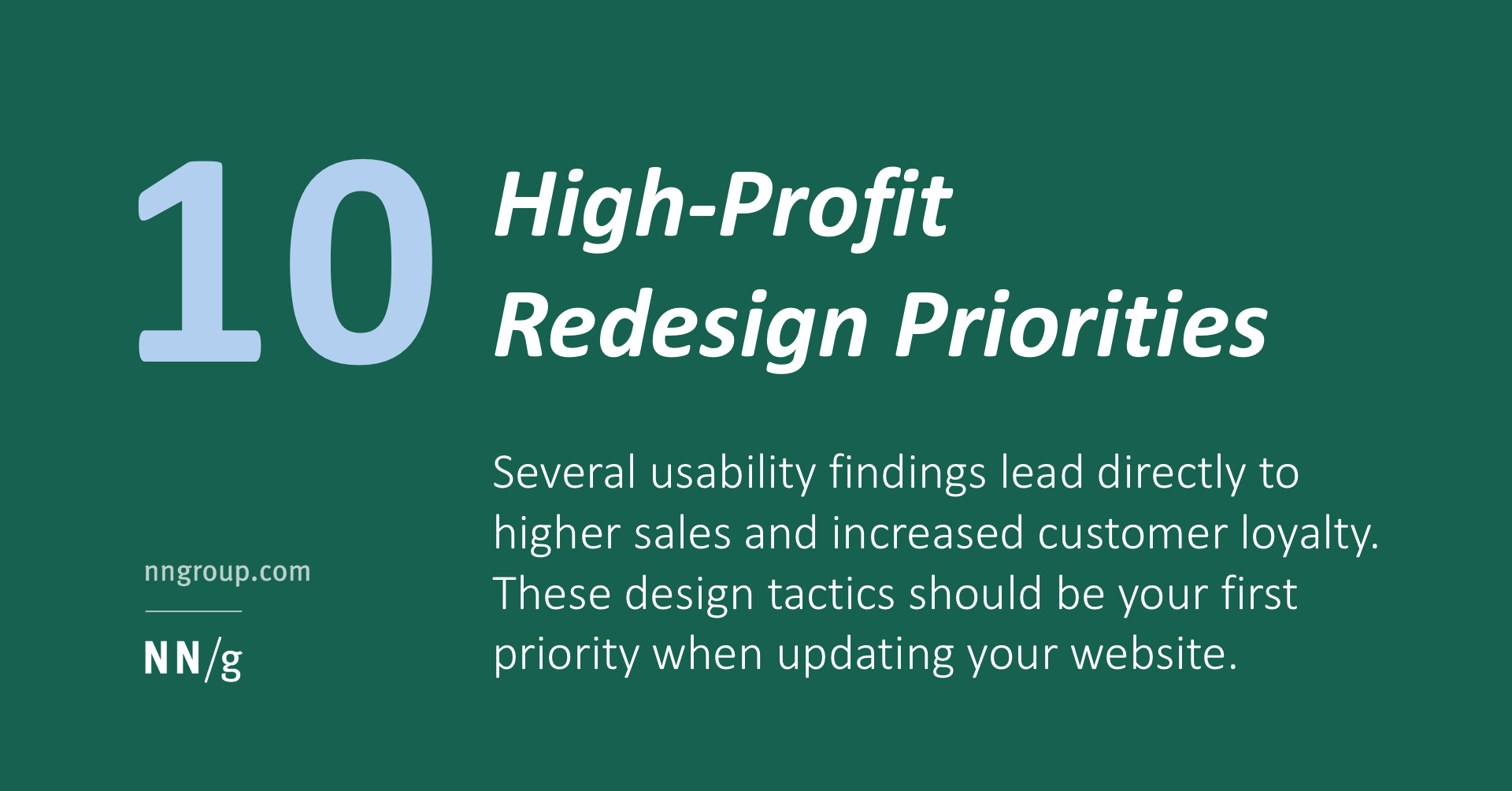 10 High-Profit Redesign Priorities