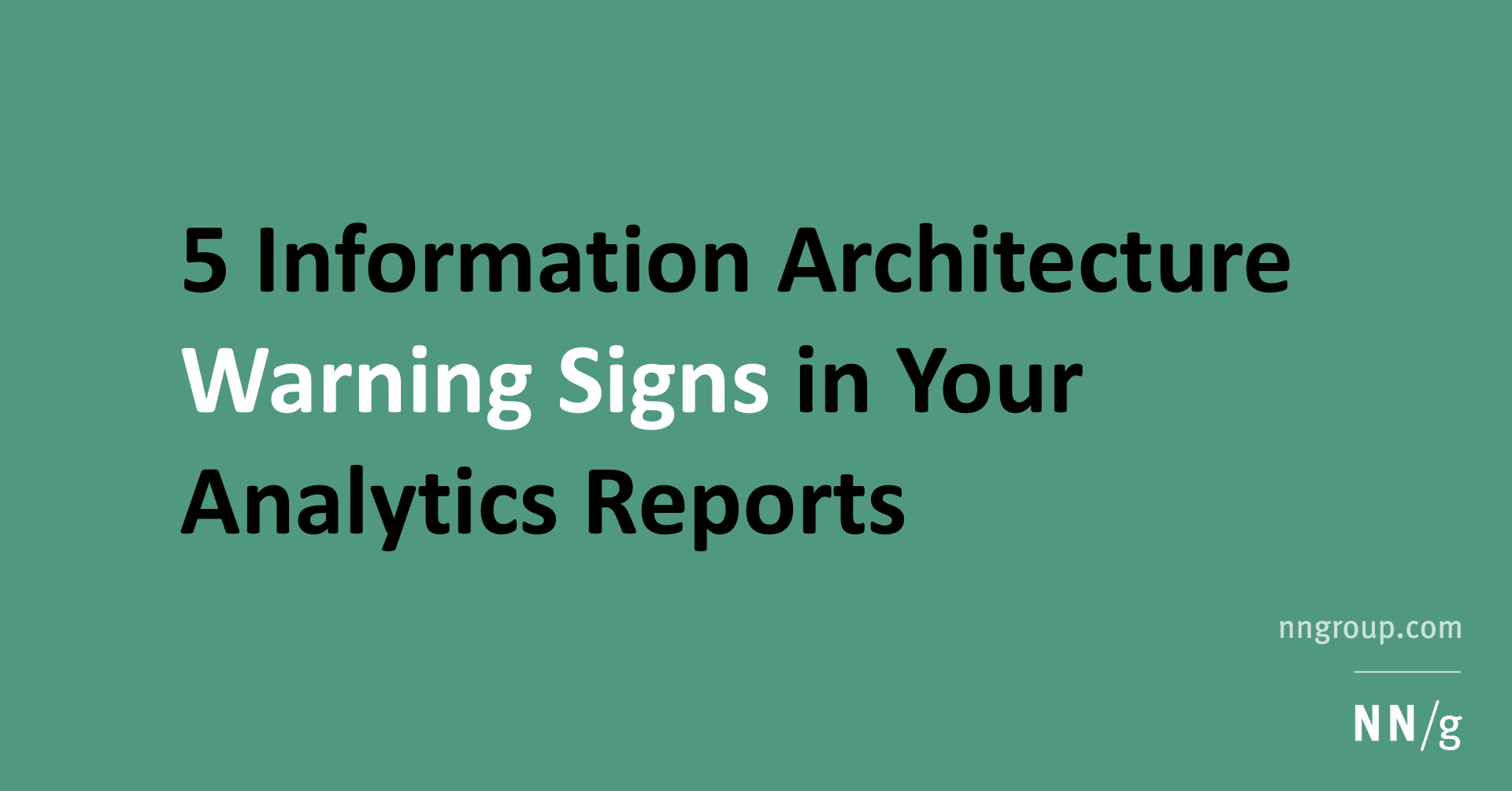Even With Warning Signs These Traffic >> 5 Information Architecture Warning Signs In Your Analytics Reports
