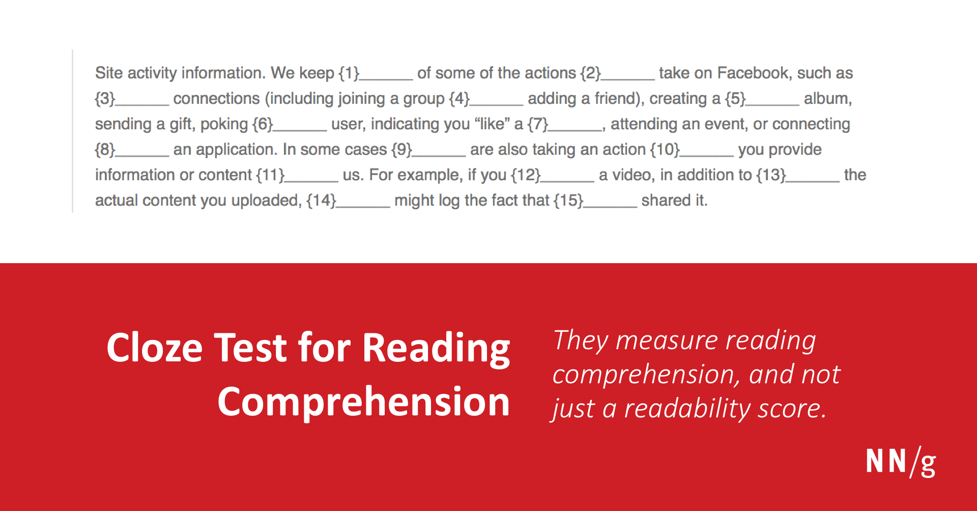 Cloze Test for Reading Comprehension