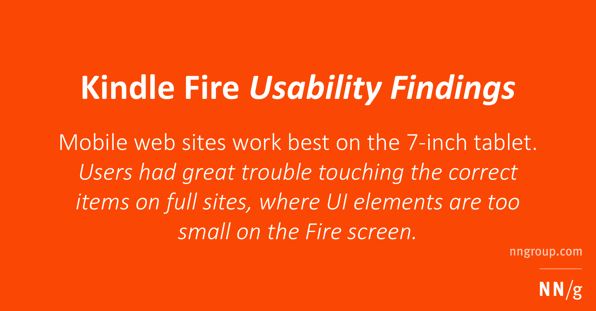 Kindle Fire Usability Findings