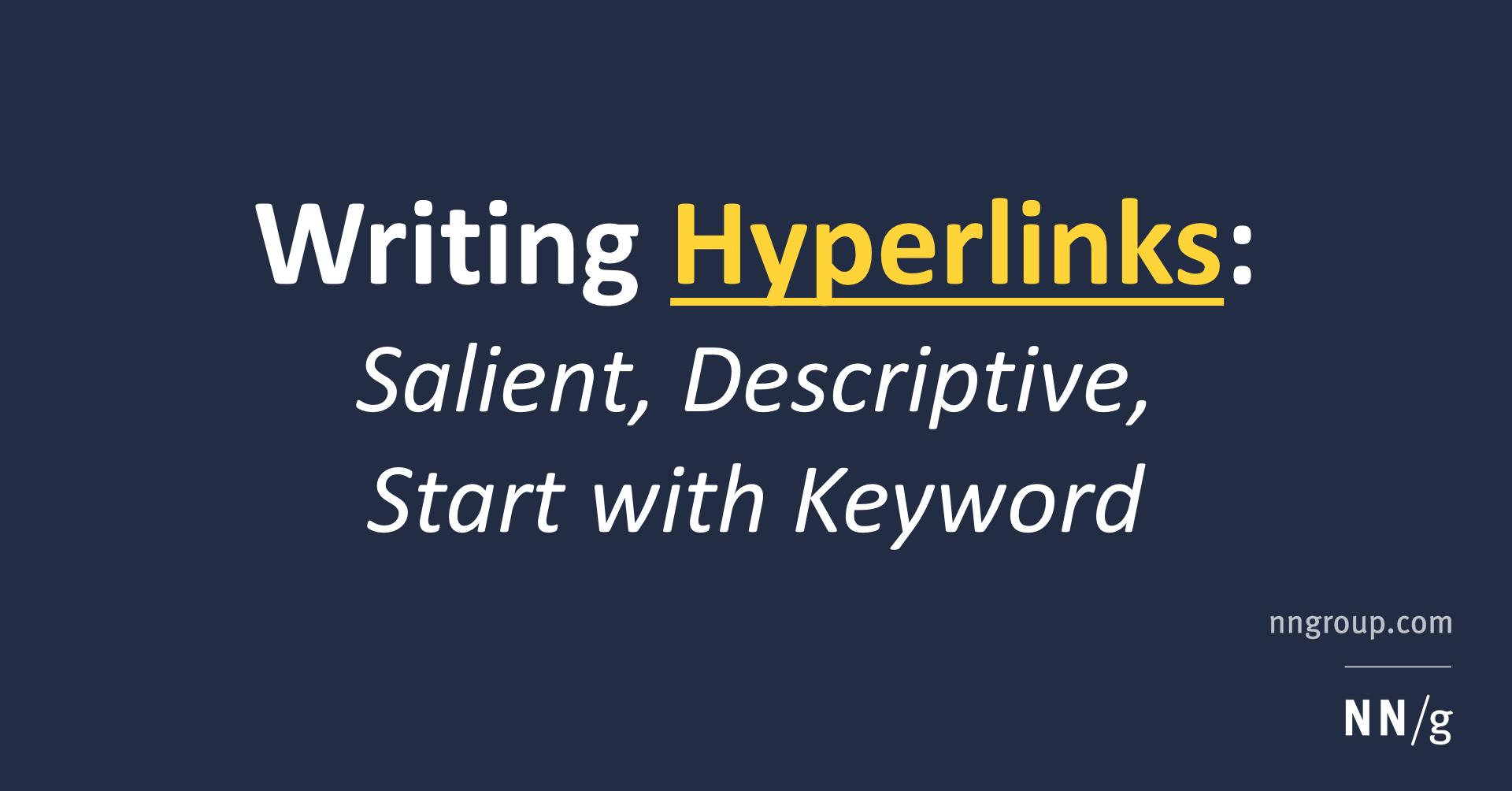 Writing Hyperlinks Salient Descriptive Start With Keyword