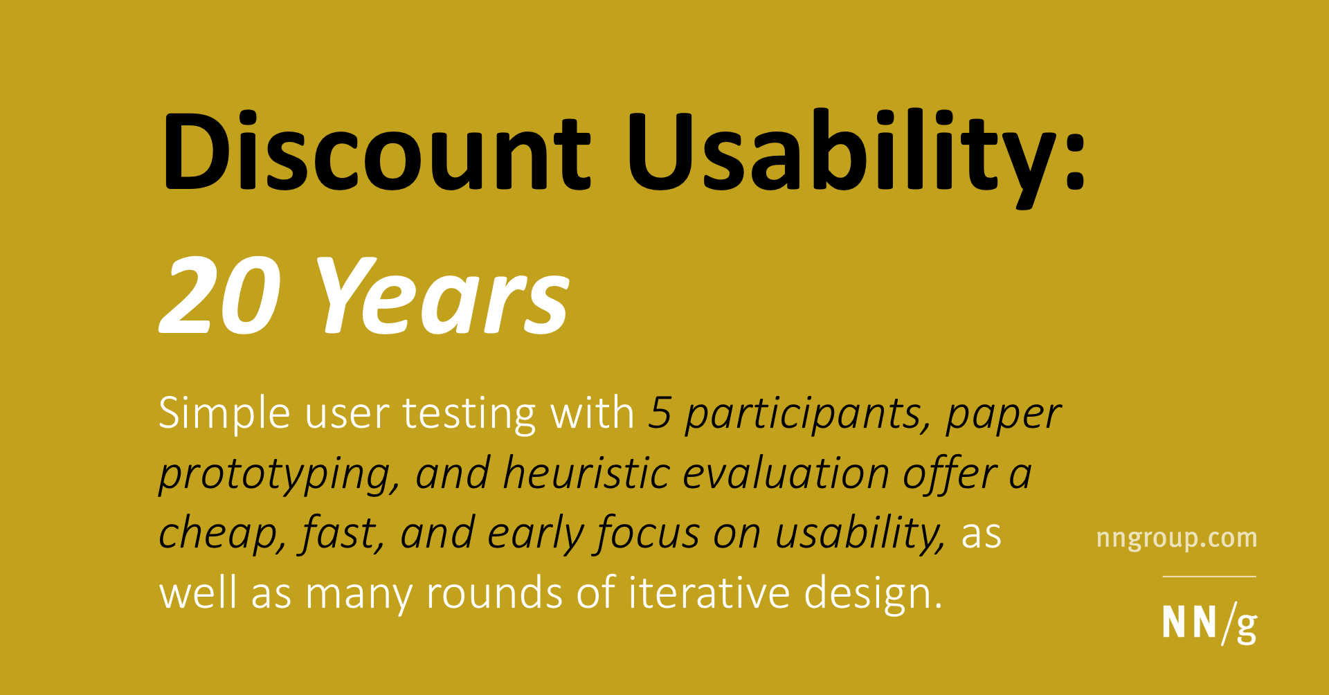 Discount Usability: 20 Years