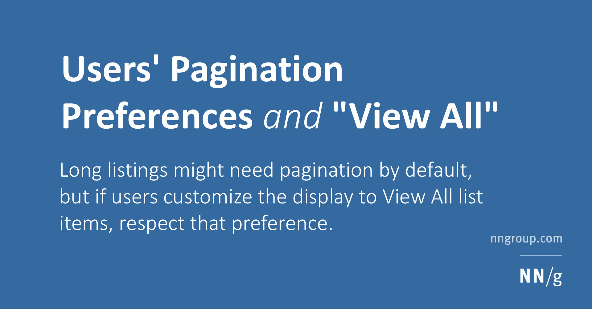 Users' Pagination Preferences and