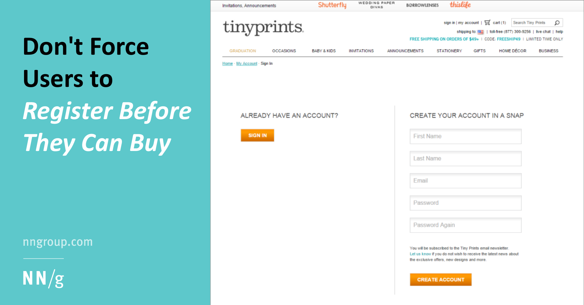 Don't Force Users to Register Before They Can Buy