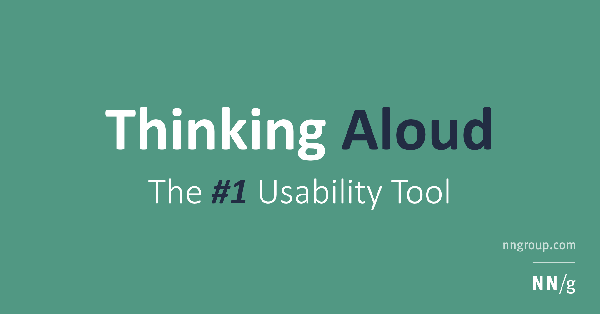 Thinking Aloud: The #1 Usability Tool