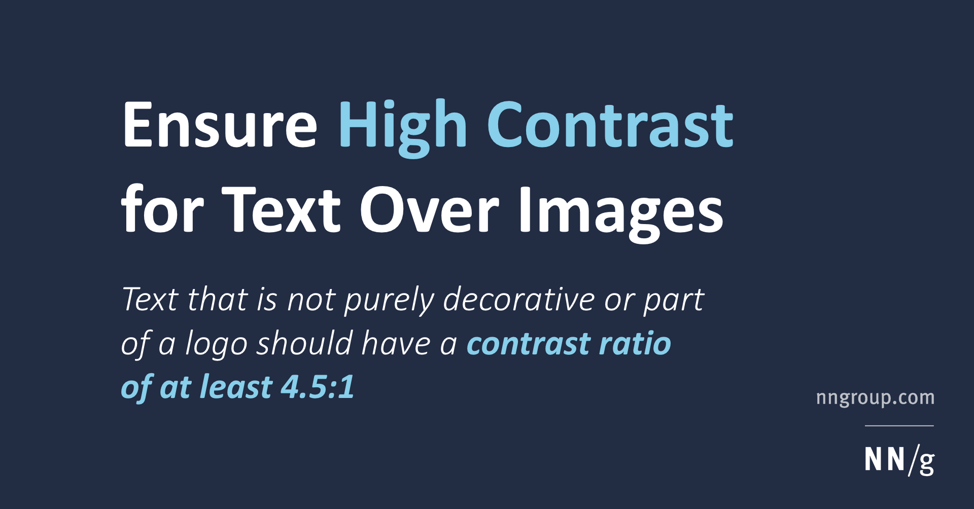 Ensure High Contrast for Text Over Images