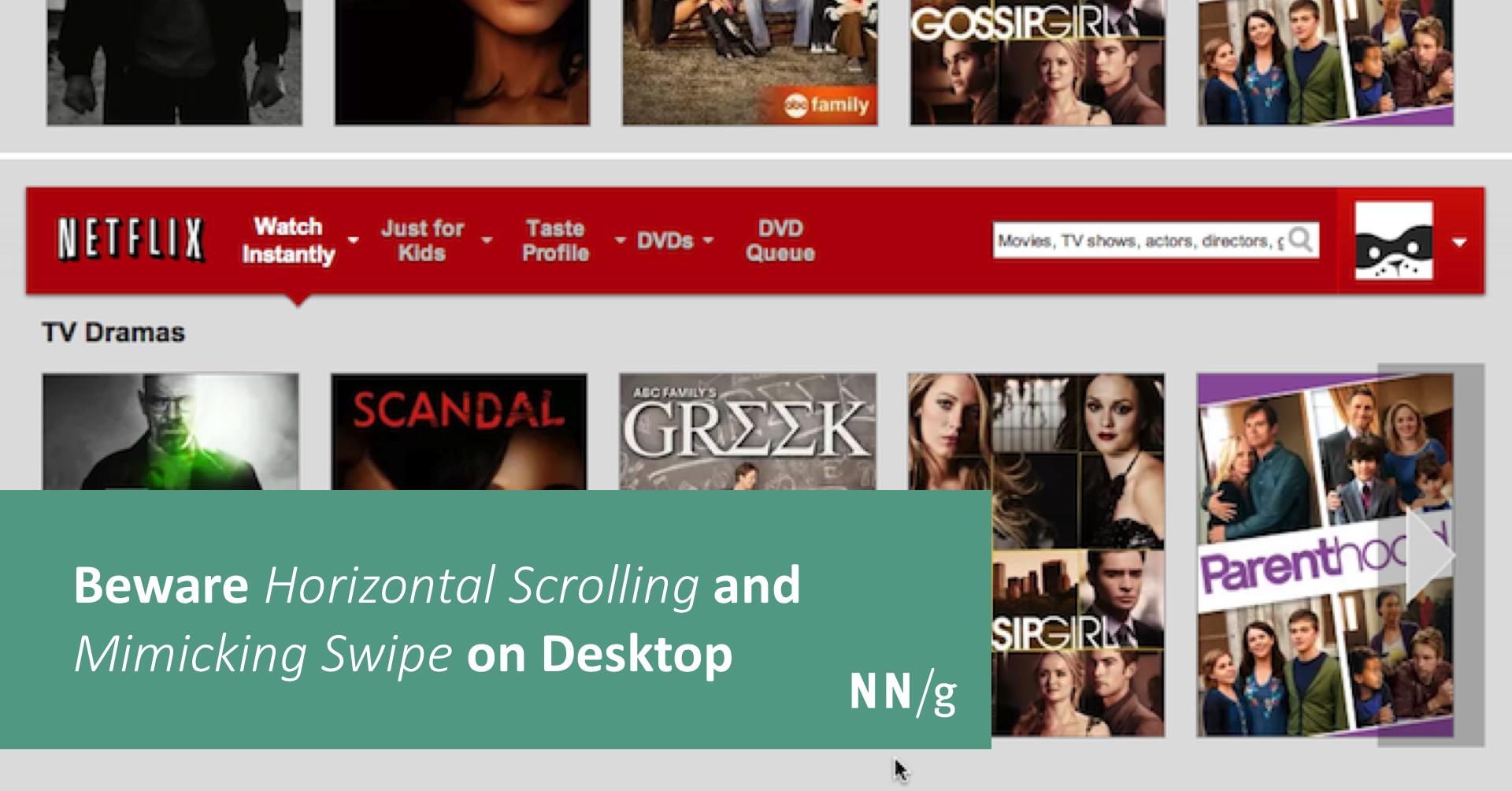 Beware Horizontal Scrolling and Mimicking Swipe on Desktop