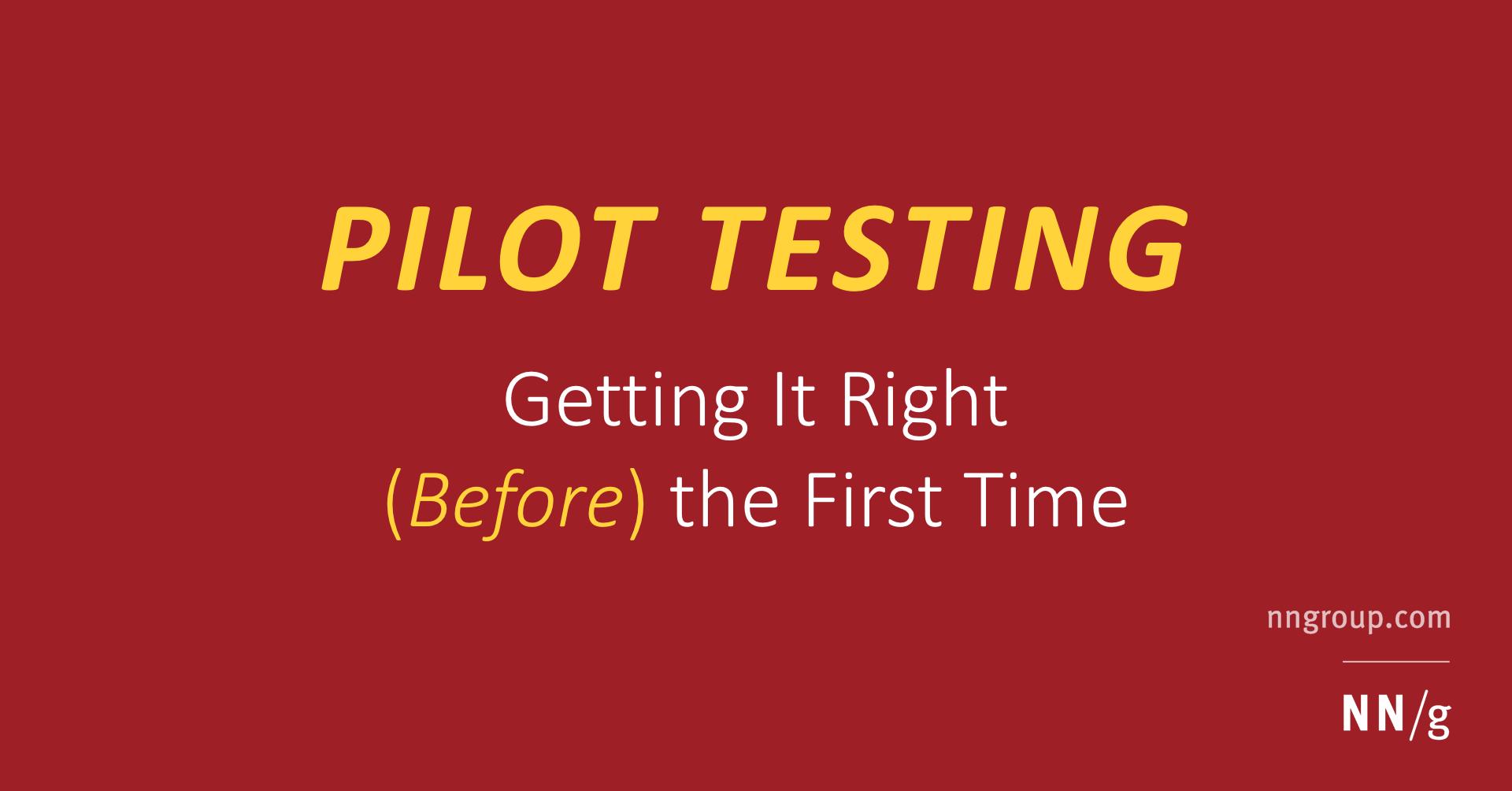 Pre testing pilot study design