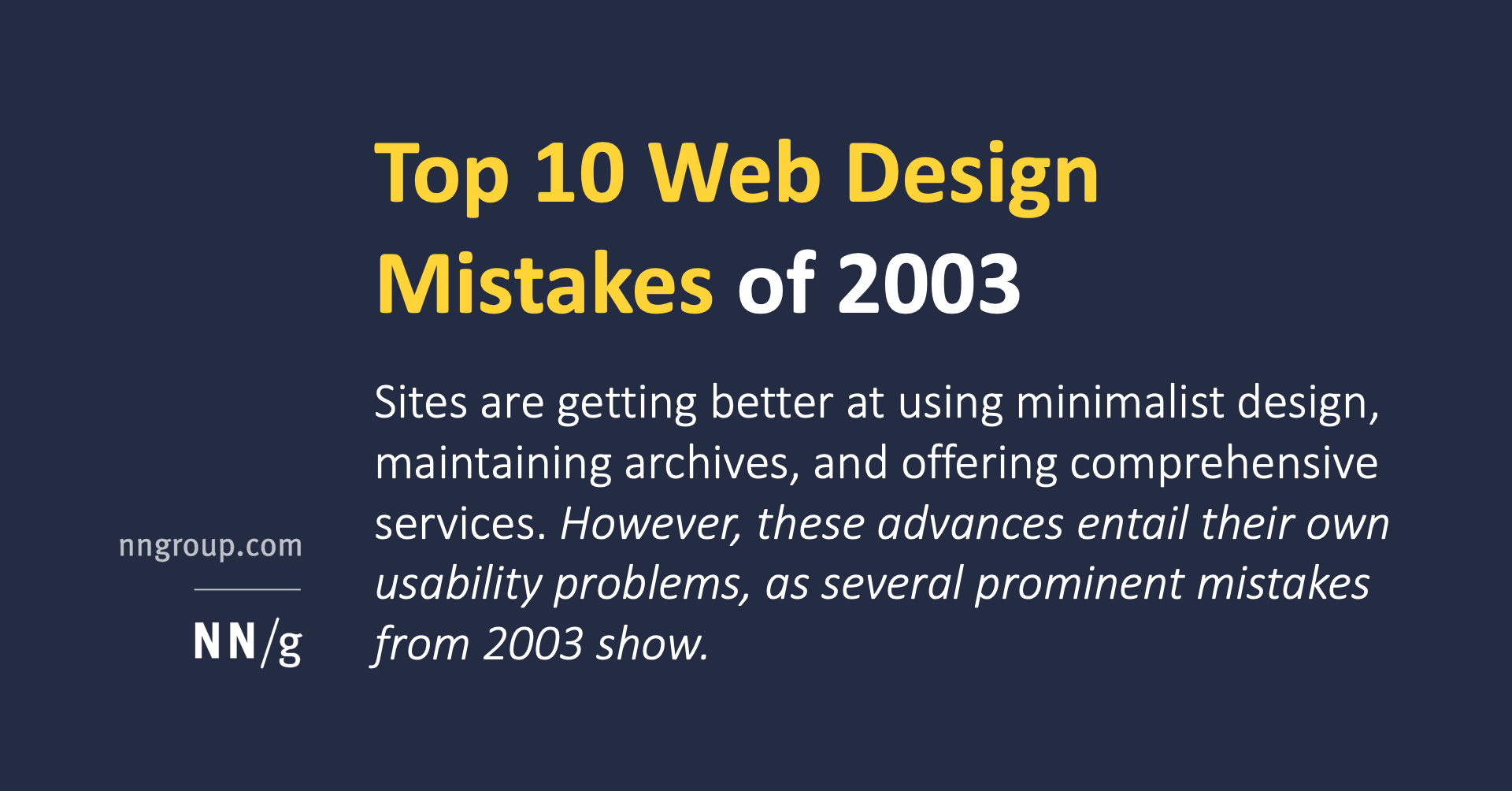 Top 10 Web Design Mistakes Of 2003