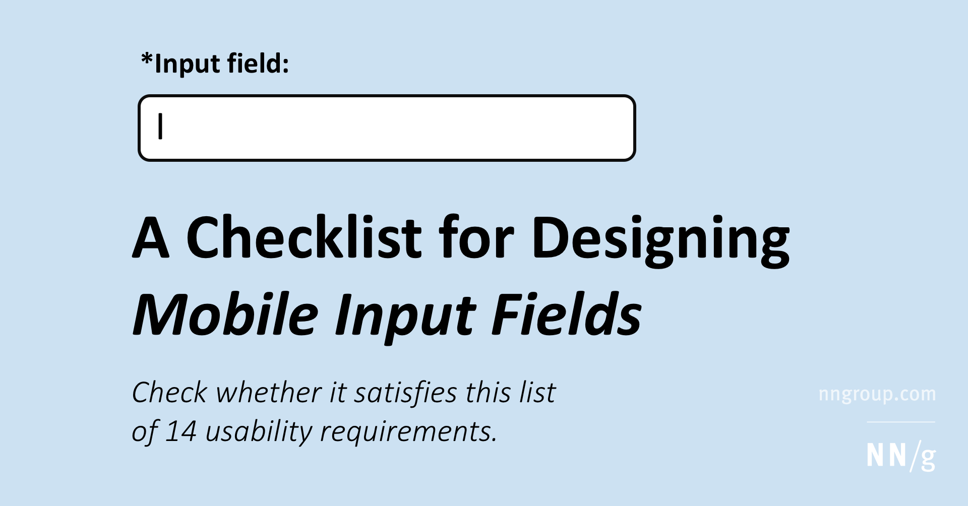 A Checklist for Designing Mobile Input Fields