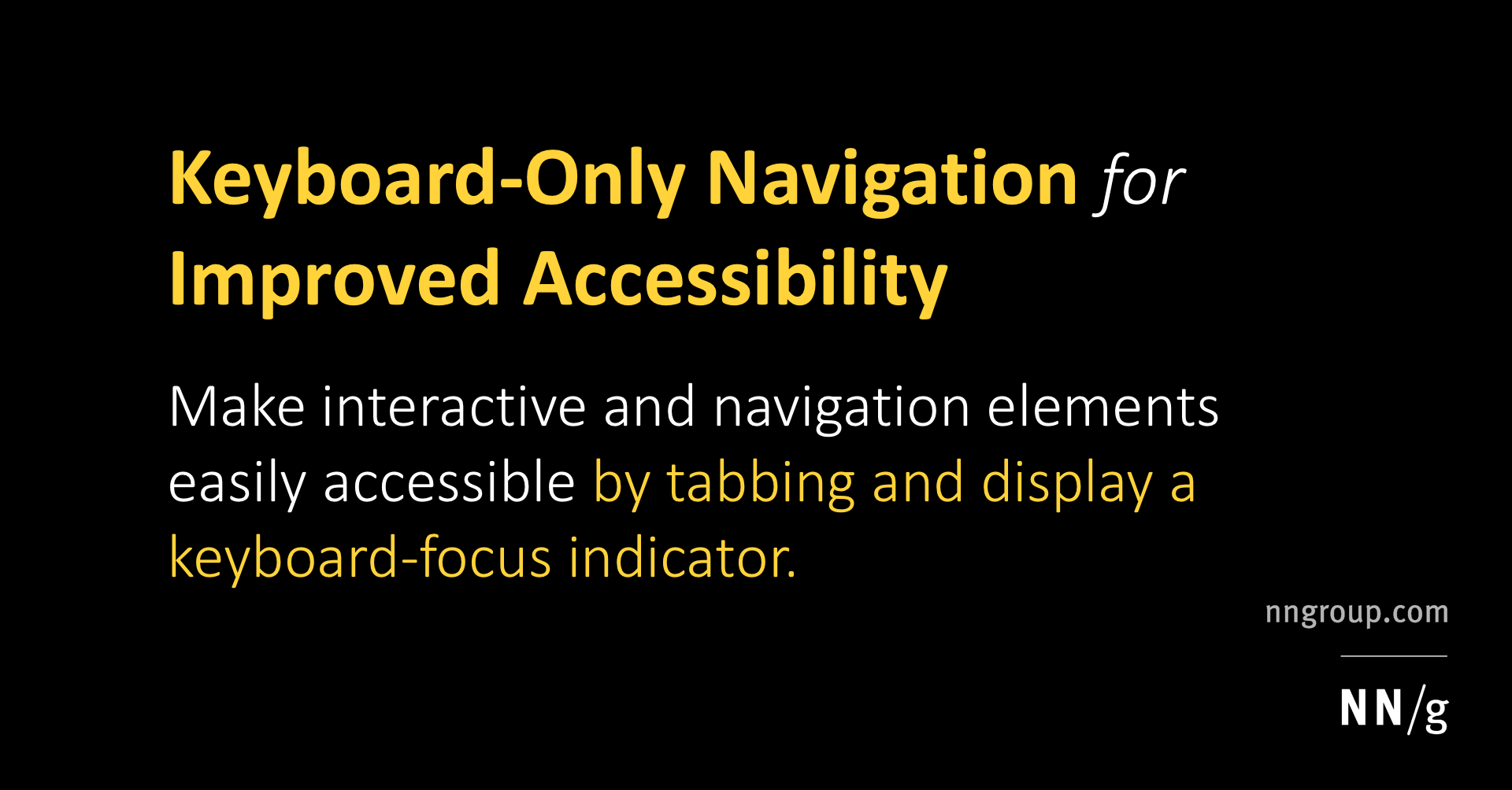 Keyboard-Only Navigation for Improved Accessibility
