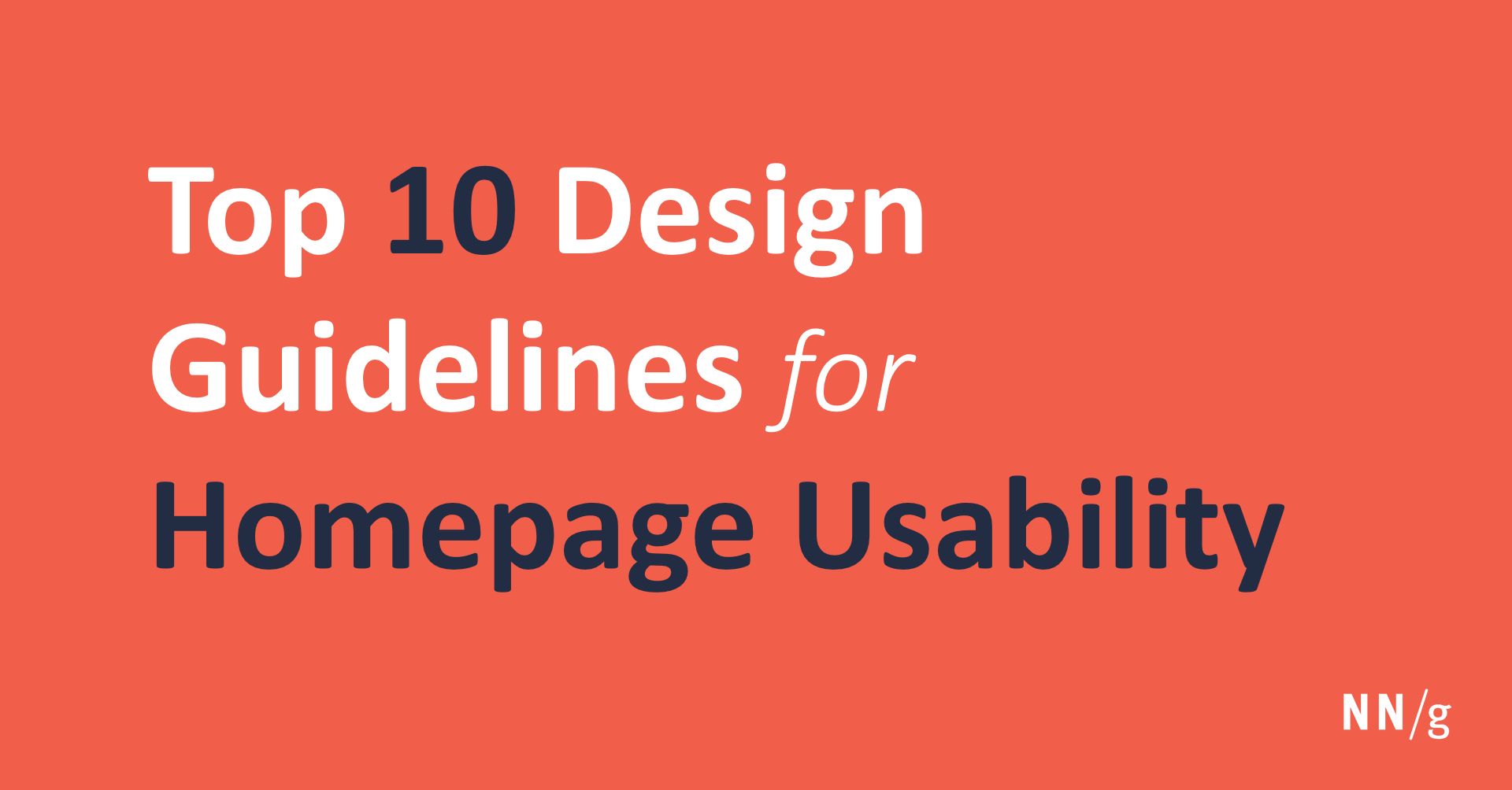 Top 10 Guidelines For Homepage Usability