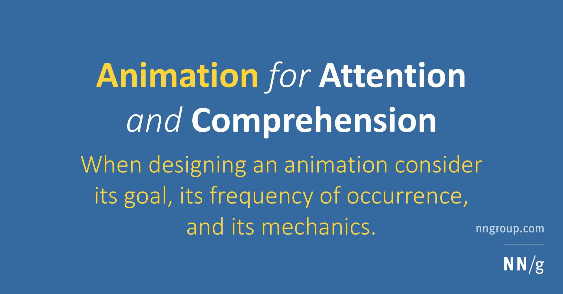 Animation For Attention And Comprehension