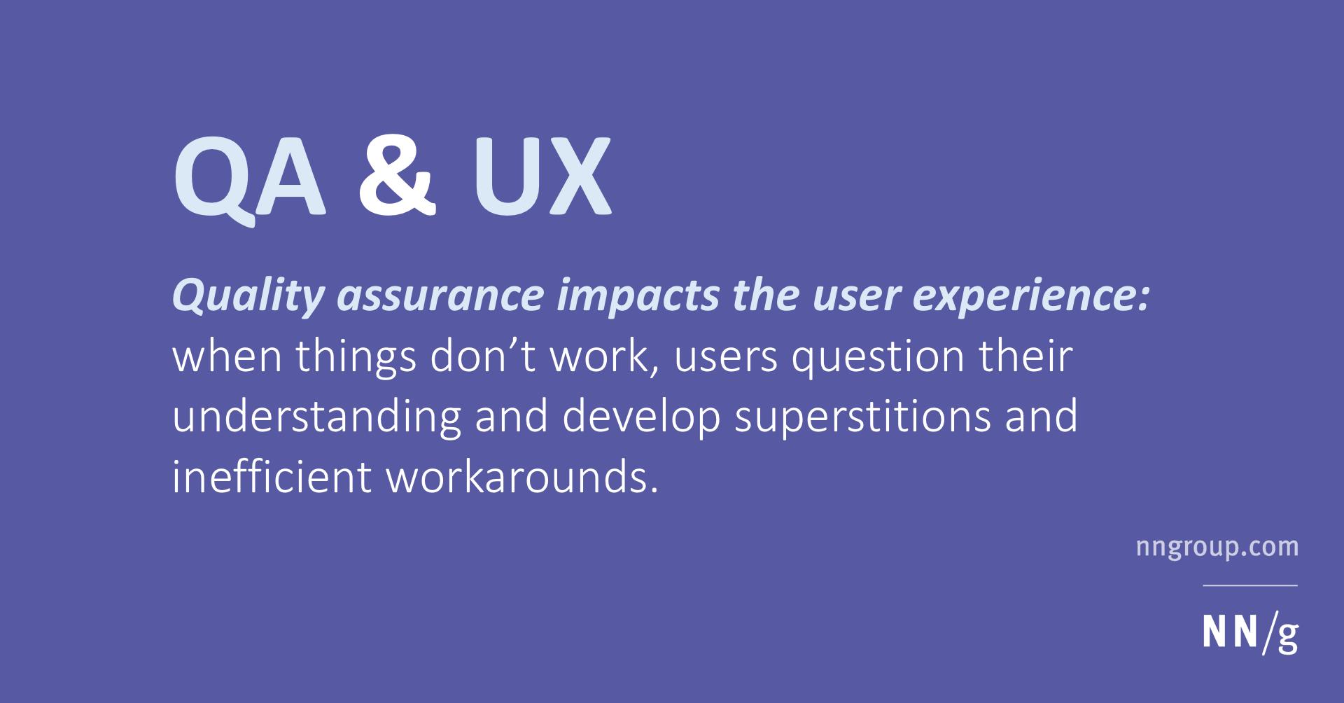QA (quality assurance) & UX (user experience)