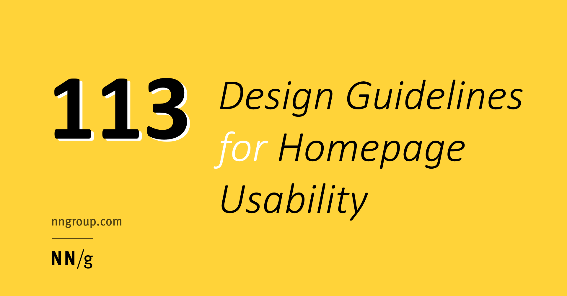 113 Design Guidelines For Homepage Usability Jakob Nielsen