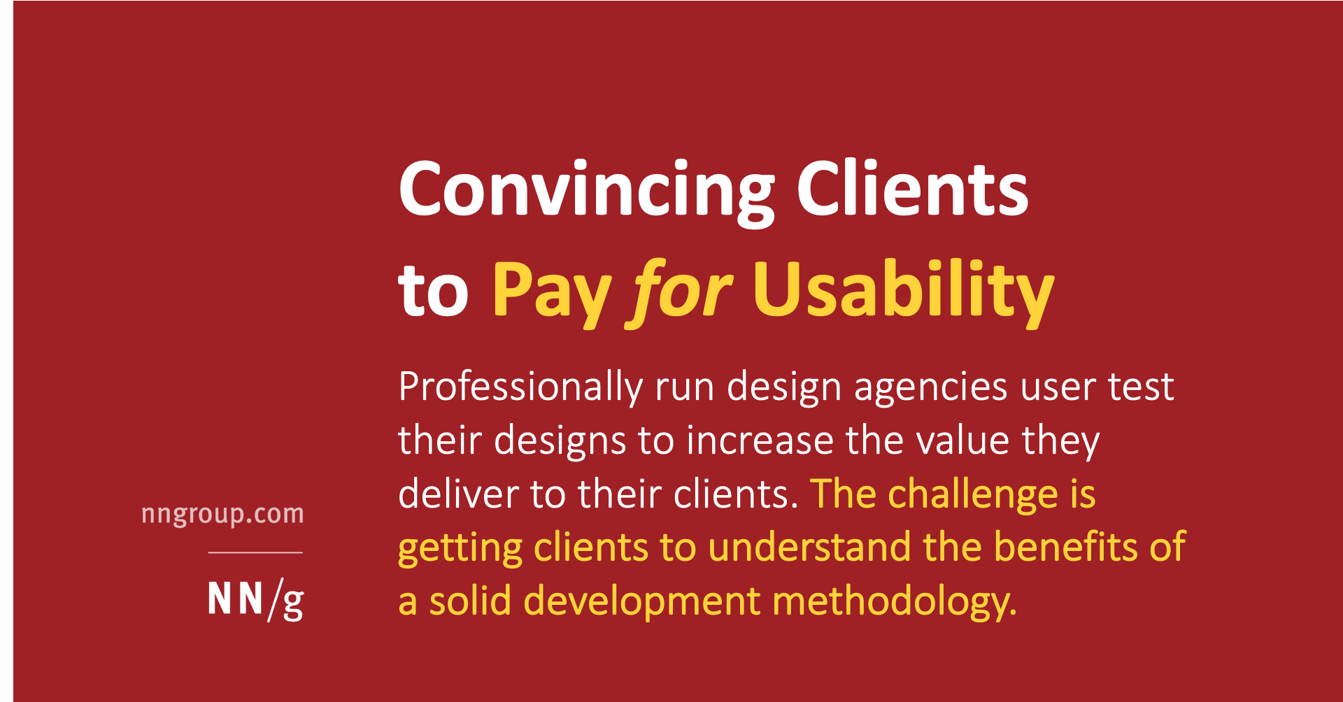 Convincing Clients to Pay for Usability