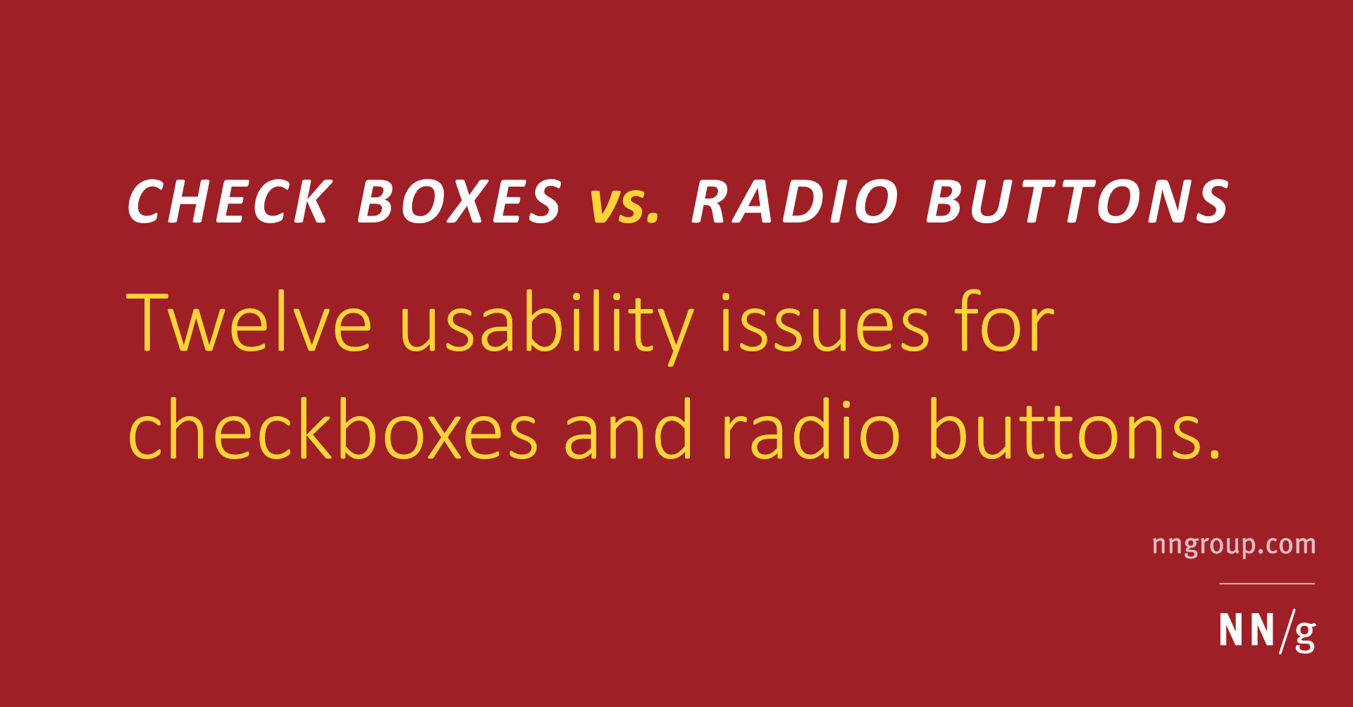 Checkboxes vs  Radio Buttons