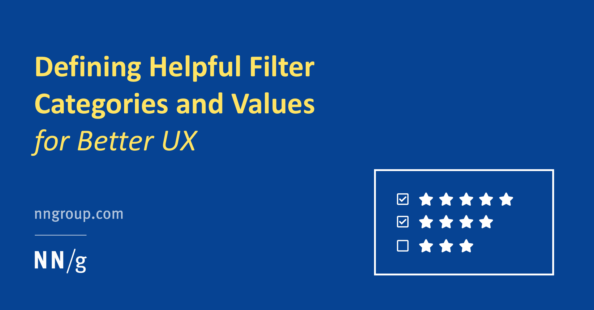 Defining Helpful Filter Categories and Values for Better UX