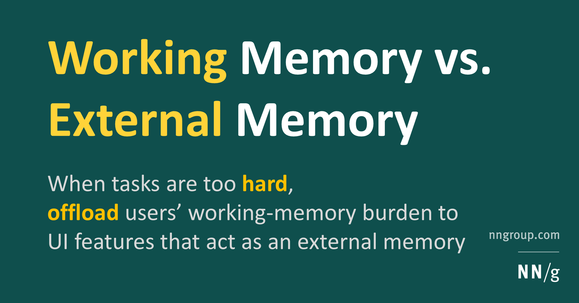 Working Memory and External Memory