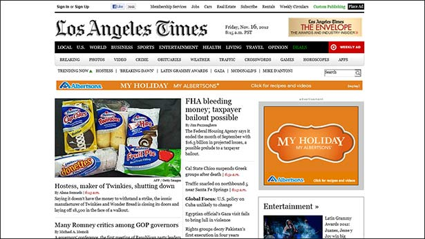 Screenshot of the Los Angeles Times website: the homepage as seen above the fold on the Microsoft Surface TR tablet in Internet Explorer.