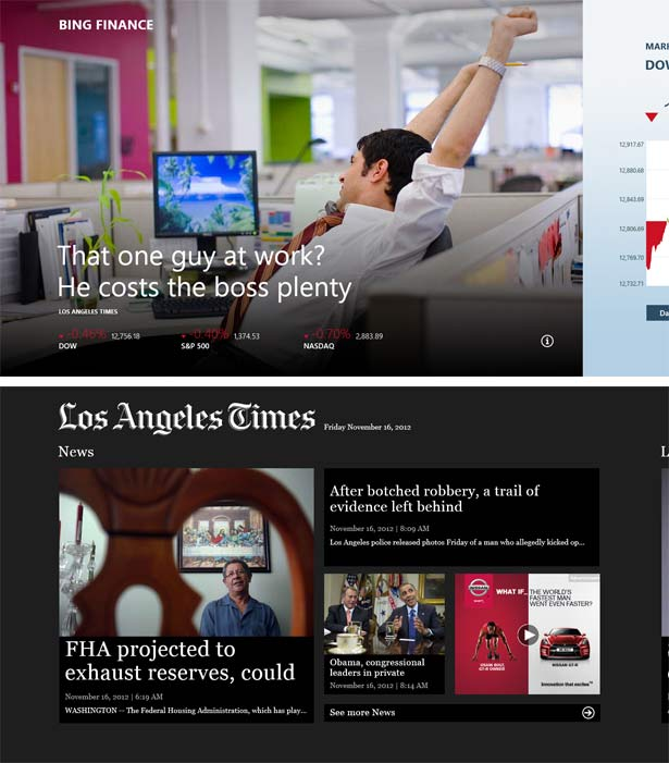 Screenshots from two Surface RT apps: Bing Finance and the Los Angeles Times.