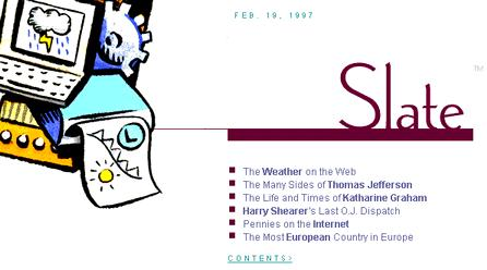 Slate's front page on February 19, 1997, shown at 75 percent of full size