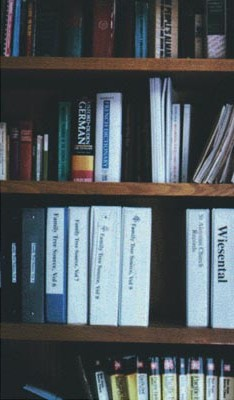 Photo of a bookshelf with various books