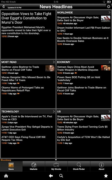 Kindle Fire HD screenshot: Bloomberg app on the 9-inch tablet.