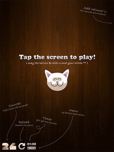 Screenshot of the home screen in the Laser Kitten iPhone app