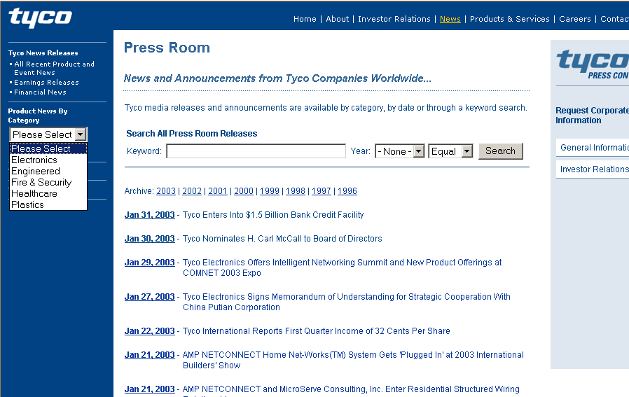 Tyco press releases