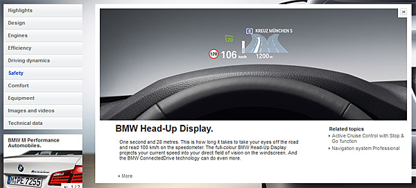 Screenshot of safety feature on BMW website