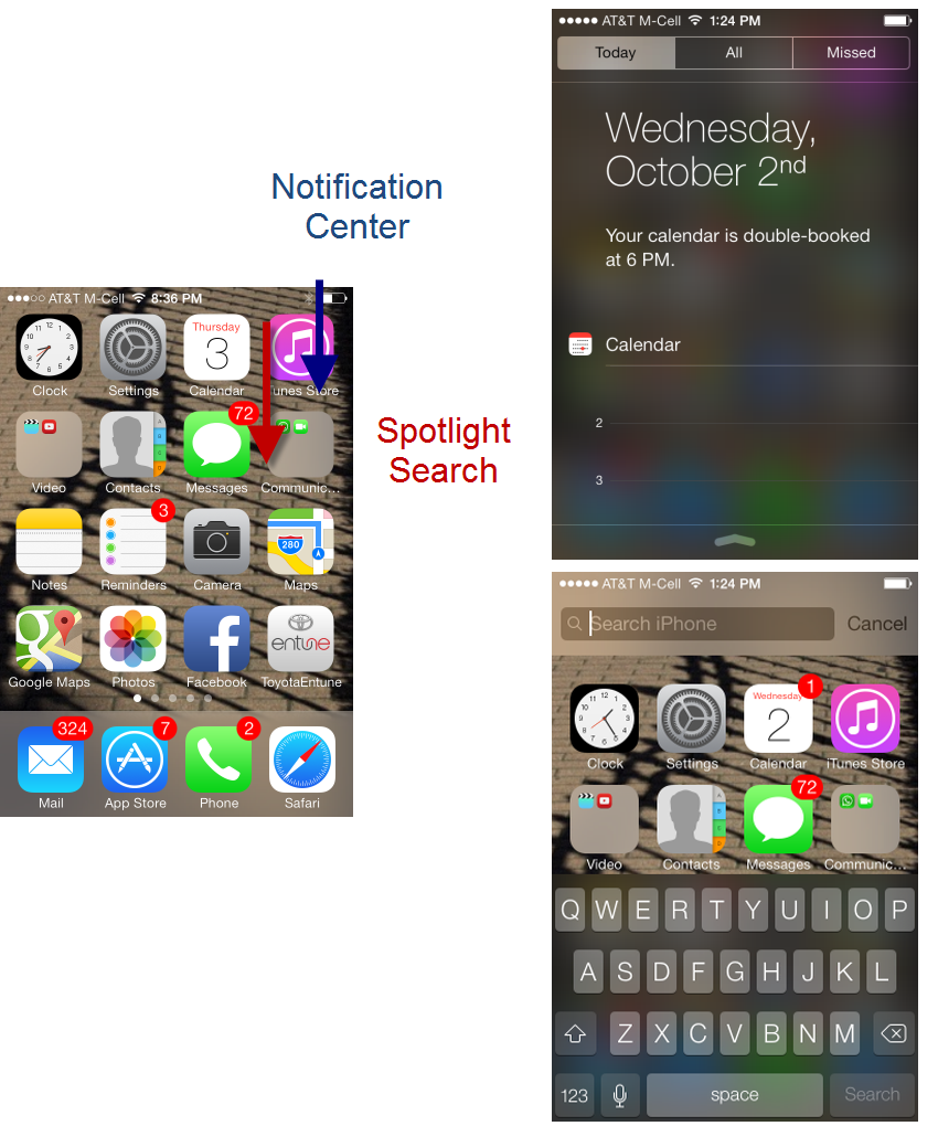 Swiping for the Spotlight Search can trigger the Notification Center