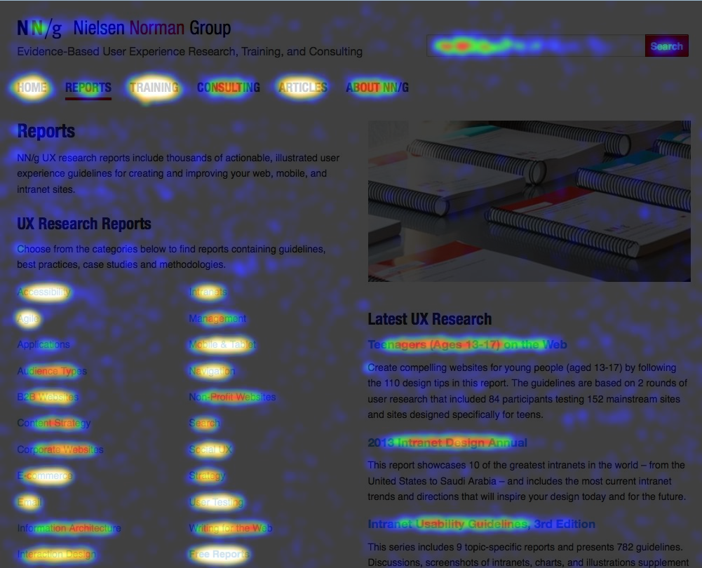 nngroup.com homepage with heatmap overlay