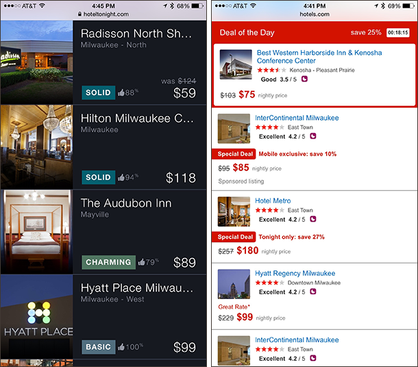 List page layouts on HotelTonight and Hotels.com