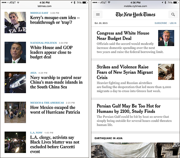 Thumbnail placement for news items on LA Times and NY Times mobile sites