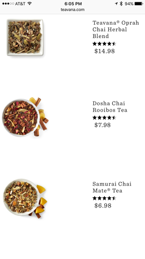 Category browse page on Teavana mobile site