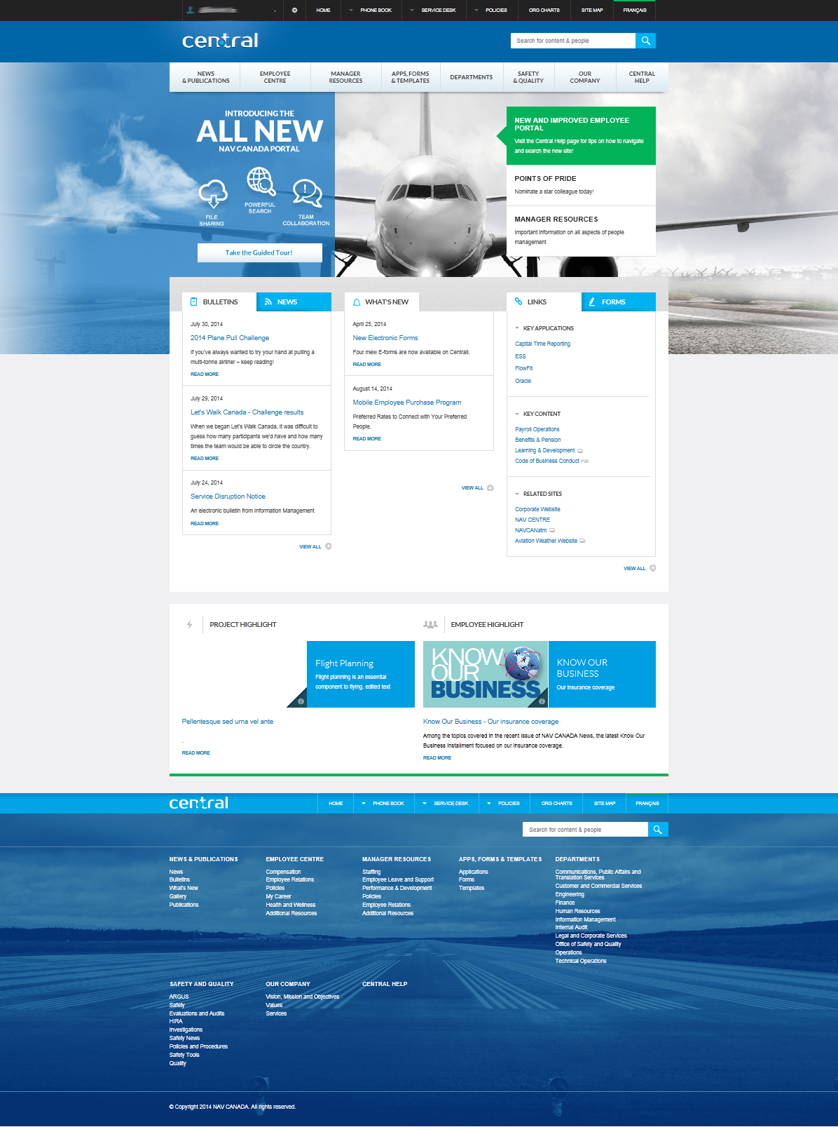 Sharepoint site design ideas - Nav Canada S Delightful Intranet Is Based On Sharepoint 2013 Above Is The Homepage The