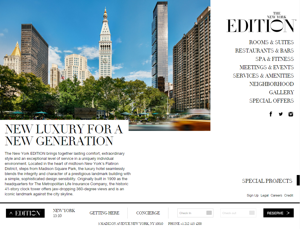 The homepage for the New York Edition hotel