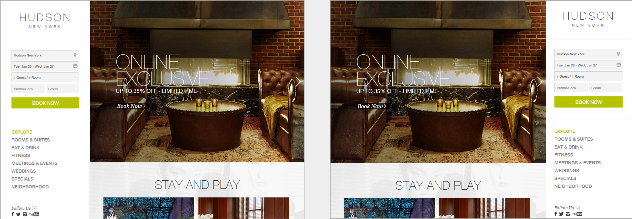 哈德逊酒店的主页(左侧)和主页的操纵版本,右侧带有徽标