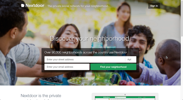 Nextdoor.com homepage with form asking for street address and email