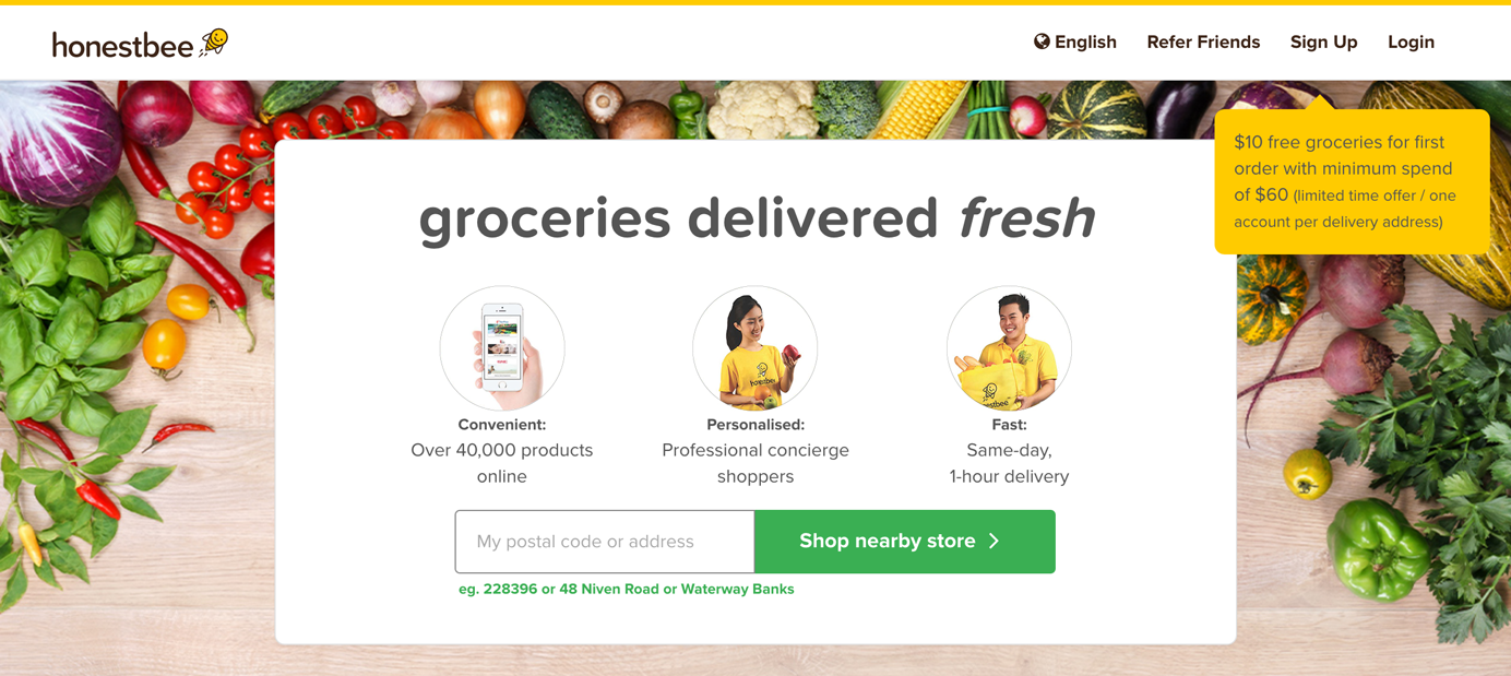 Homepage of honestbee.com, showing prominent location lookup form.